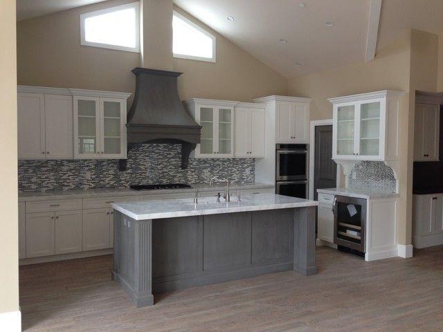 Fancy Grey Shaker Kitchen Cabinets, White Shaker Kitchen Cabinets With Gray Island