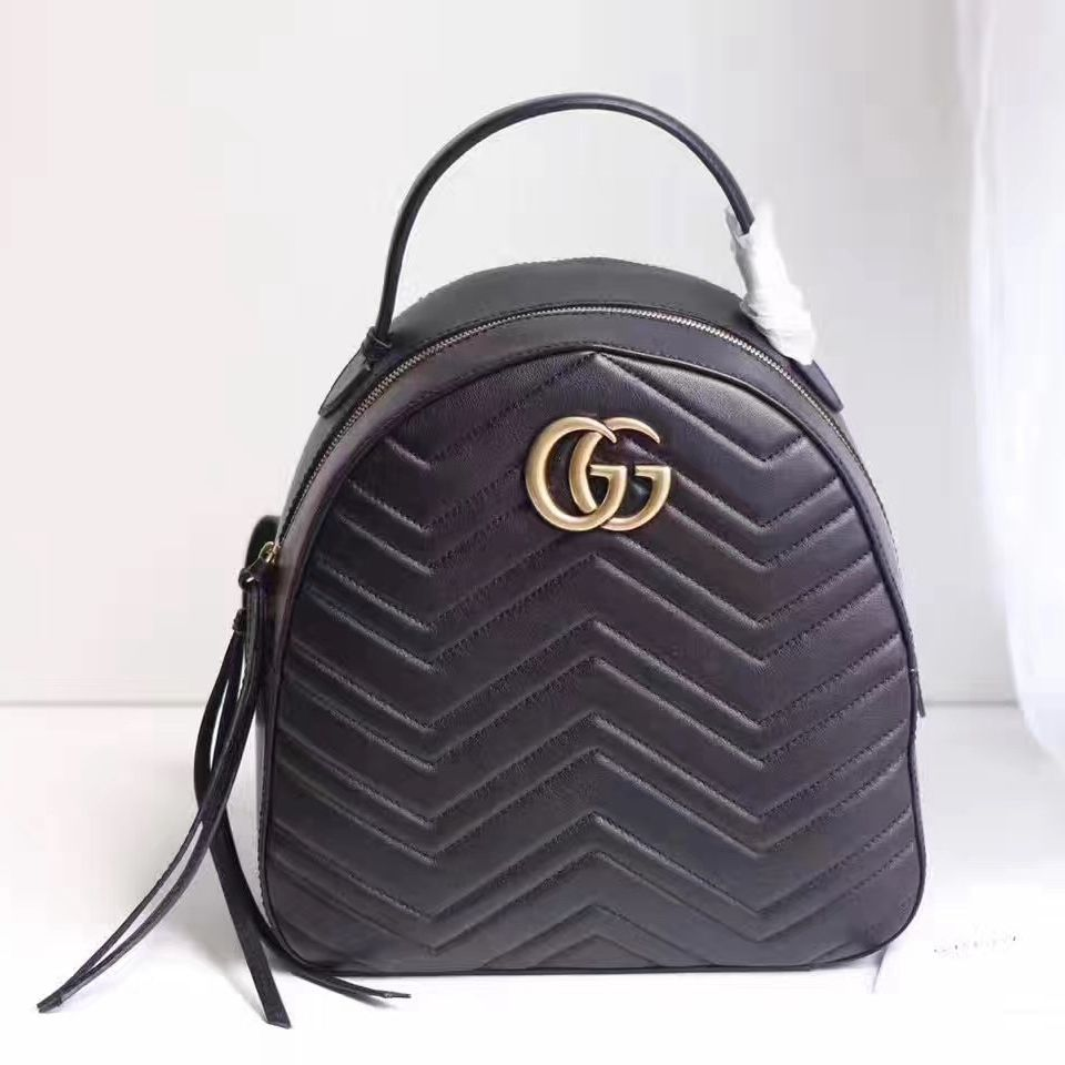 ba5875cf1f4b Gucci GG Marmont Quilted Leather Backpack 476671 Black 2017 | Bags ...