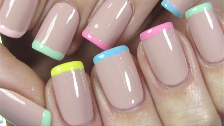 French Manicure Colorata Unghie Forma Squadrata Unghie Color Pastello Unghie Estive Unghie Colorate Unghie