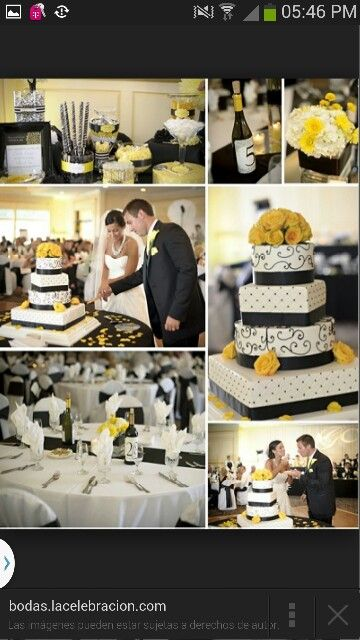 decoración de boda blanco amarillo y negro | boda | pinterest