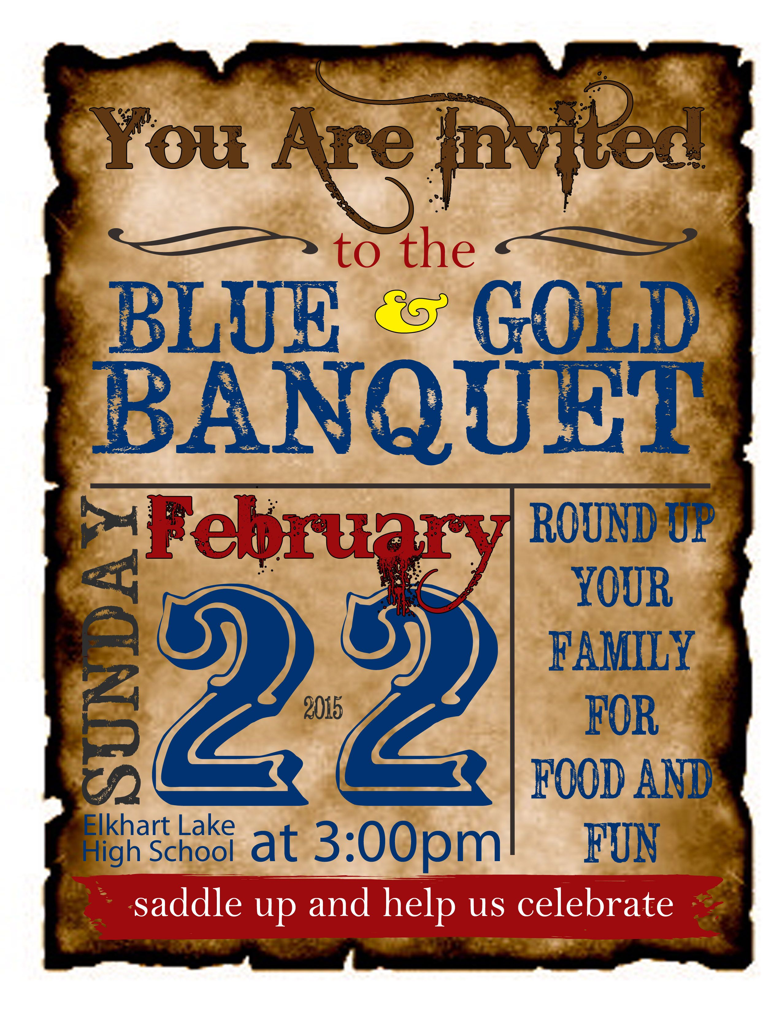 Western Theme Cub Scout Blue & Gold Banquet Invite - I printed on card stock and then cut each one out along the burned-looked edges.