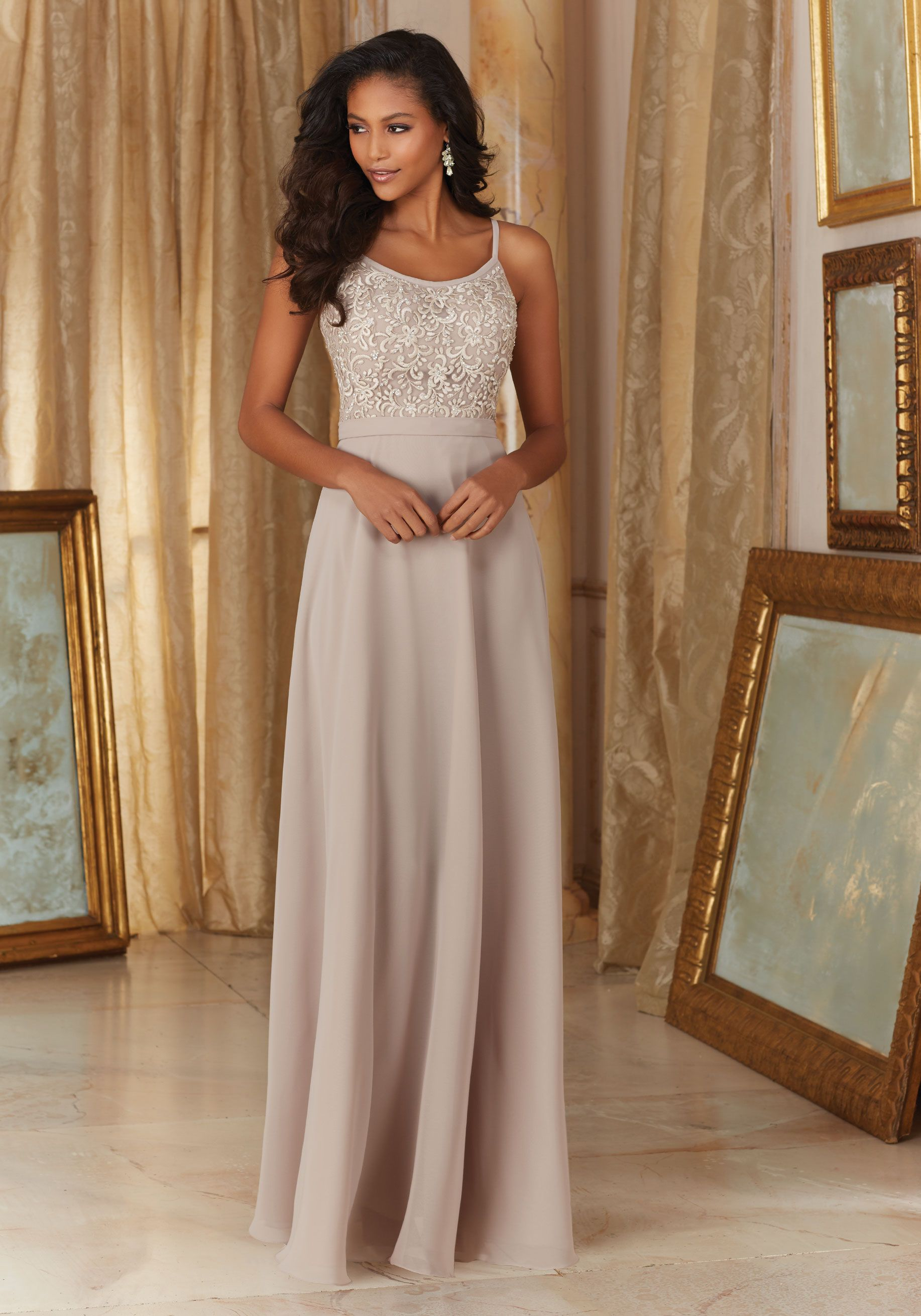5c7cadf79eb 20483 Chiffon with Beaded Embroidery Bridesmaid Dress Designed by Madeline  Gardner