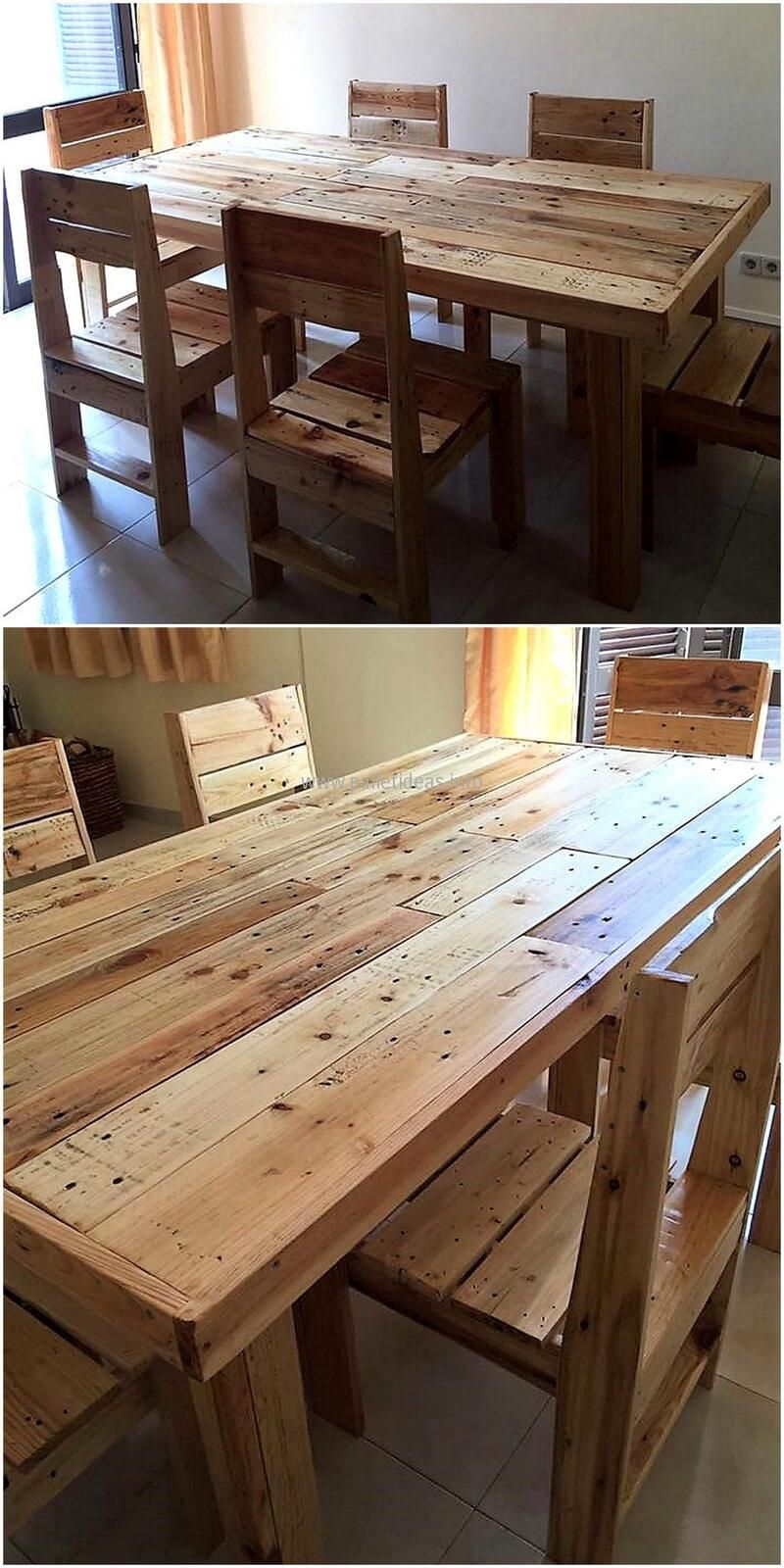 Repurposed wooden pallets dining set