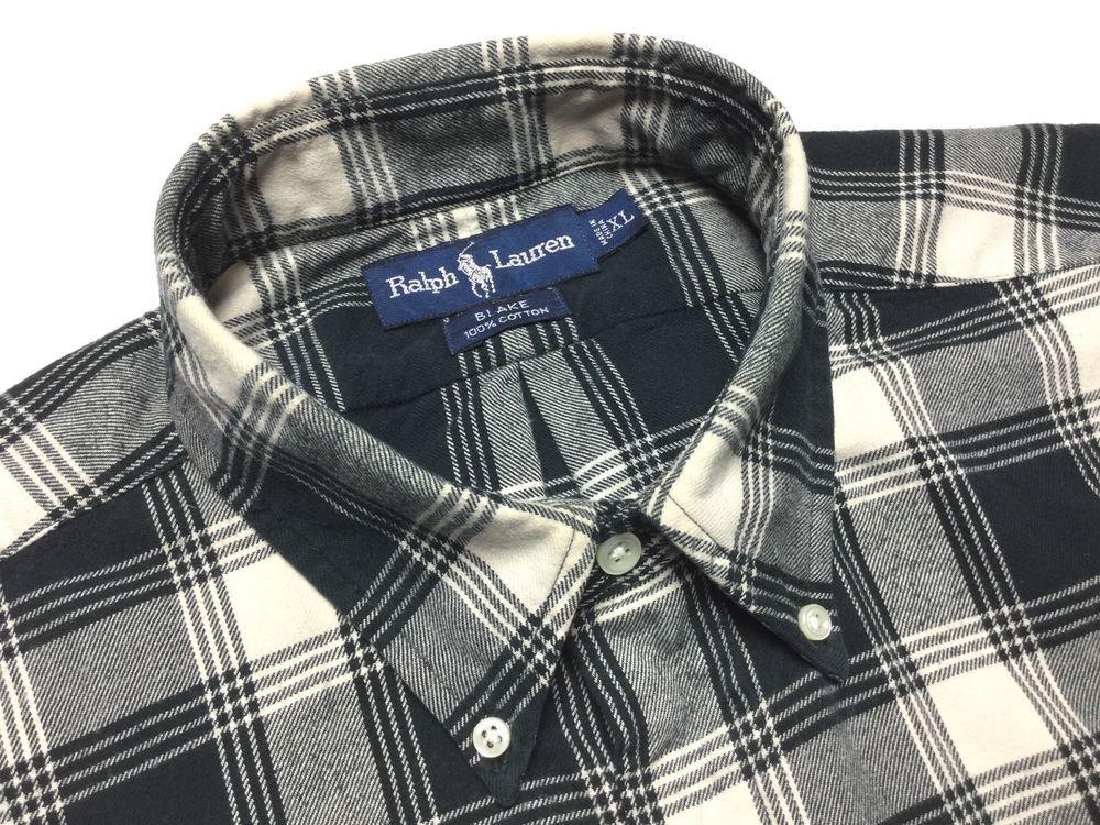 RALPH LAUREN Blake Men XL Black Natural Plaid Twill Lng Sleeve Button-Down Shirt #RalphLauren #ButtonFront