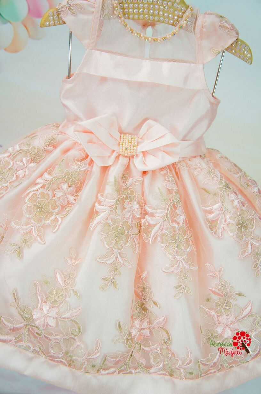 4496132e7 Vestido Infantil de Festa Rosa Chá Bordado Luxo Petit Cherie | Girls ...