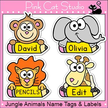 Jungle Animals Theme Classroom Name Tags And Labels Editable Classroom Name Tags Classroom Themes Pink Cat Studio