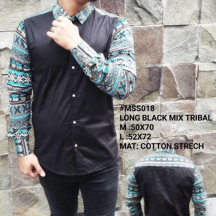 Model Baju Batik Pria Kombinasi Polos