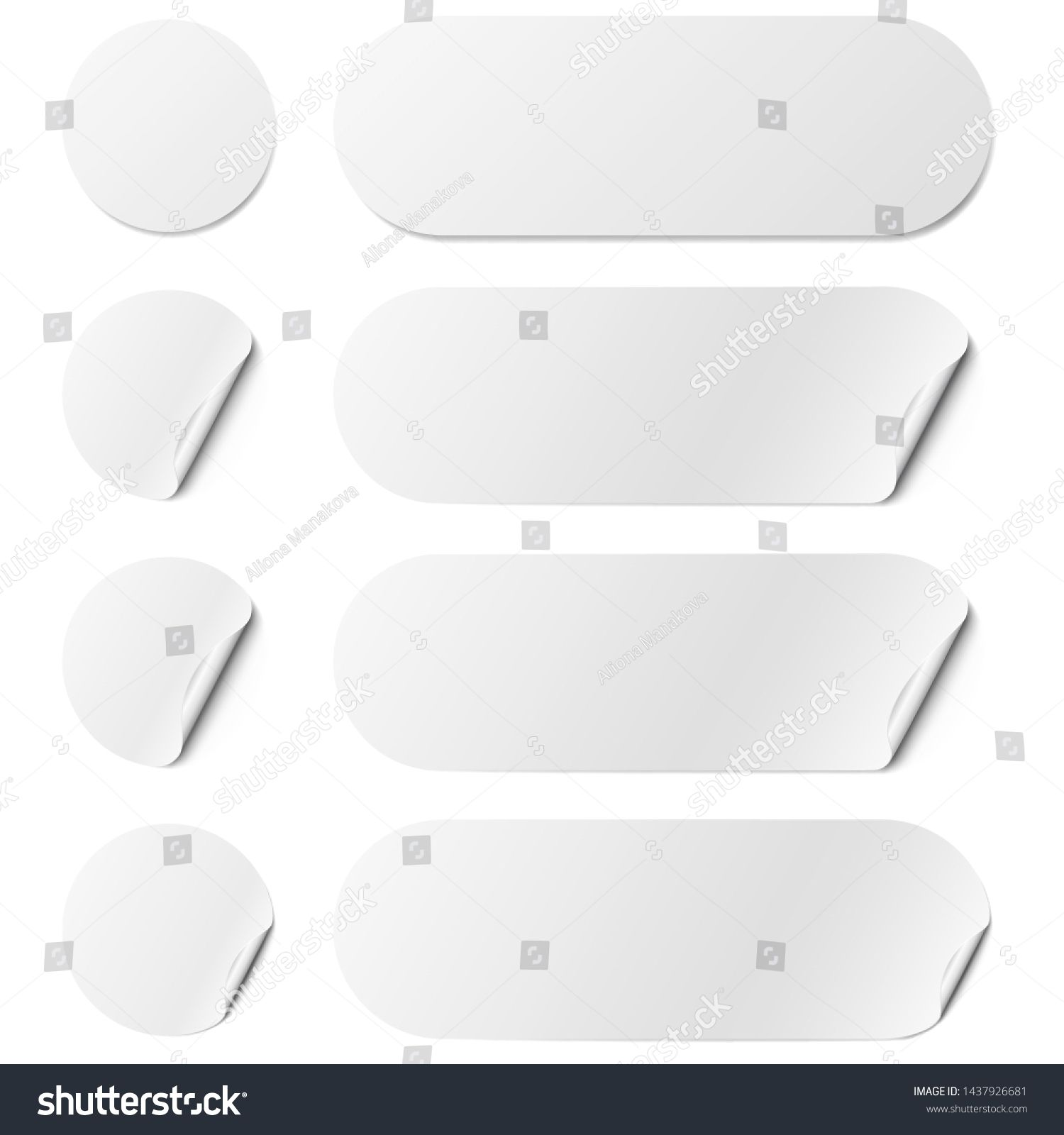 Set of white round and oval adhesive stickers with a folded edges isolated on white background
