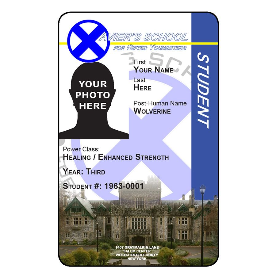 """Located in Westchester County New York, Xavier's School for Gifted Youngsters has been helping children with special abilities since 1963.  Now you can be a student as well with this custom, laminated ID from Alien Graphics. It is customized with your name, post-human name, photo, and unique ID#.  It is 2.125"""" x 3.375"""". Only $5 + $1 s/h Visit our store today... www.aliengraphicsnow.com"""