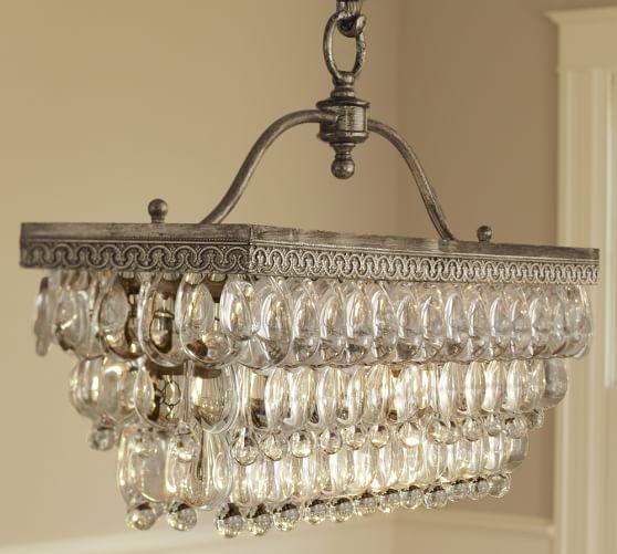 clarissa glass drop rectangular chandelier pottery barn general