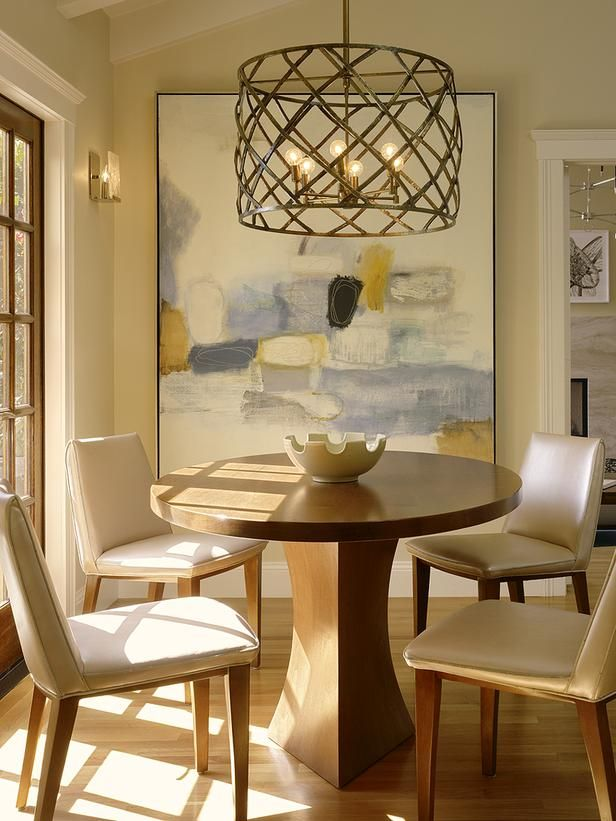 Modern Living Room With Chrome Lamp And Table Dining Room Light