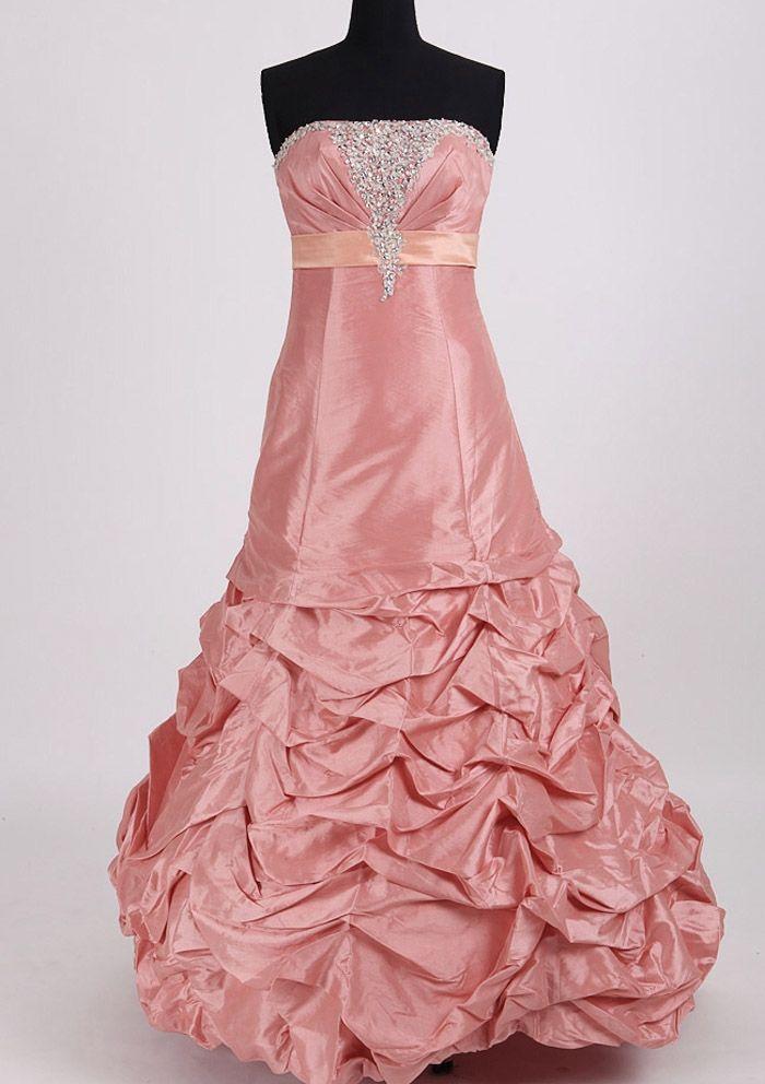 dresses with pick ups | ... Dresses / Strapless Pink Taffeta Long Prom dress / Real Sample Pick Up