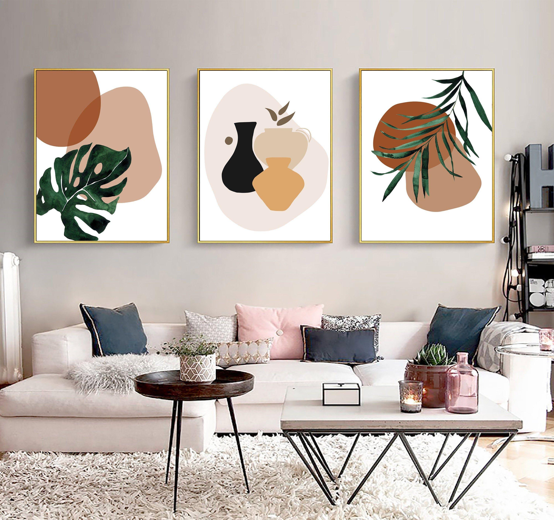 Boho Greenery Wall Art Set Printable Download Mid Century Etsy In 2021 Wall Decor Printables Terracotta Wall Art Living Room Art Prints