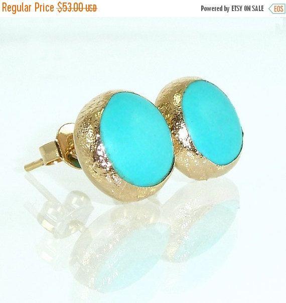 BLACK FRIDAY SALE Turqouise Stud Earrings, Turquoise earrings, Gemstone Earrings, Turquoise studs, Gold Studs, Minimalist Studs, Turquoise J