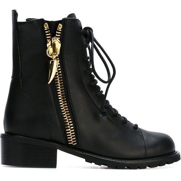 Giuseppe Zanotti Black Flat Lace-Up Boots