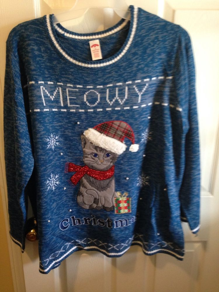 Mens 3x Ugly Christmas Sweater.The Mother Of All Ugly Christmas Cat Sweater Women 3x Plus Men 2x