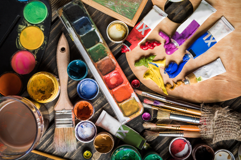 Wallpaper Artist, Art, Bokeh, Easel, Palette, Tubes, Close