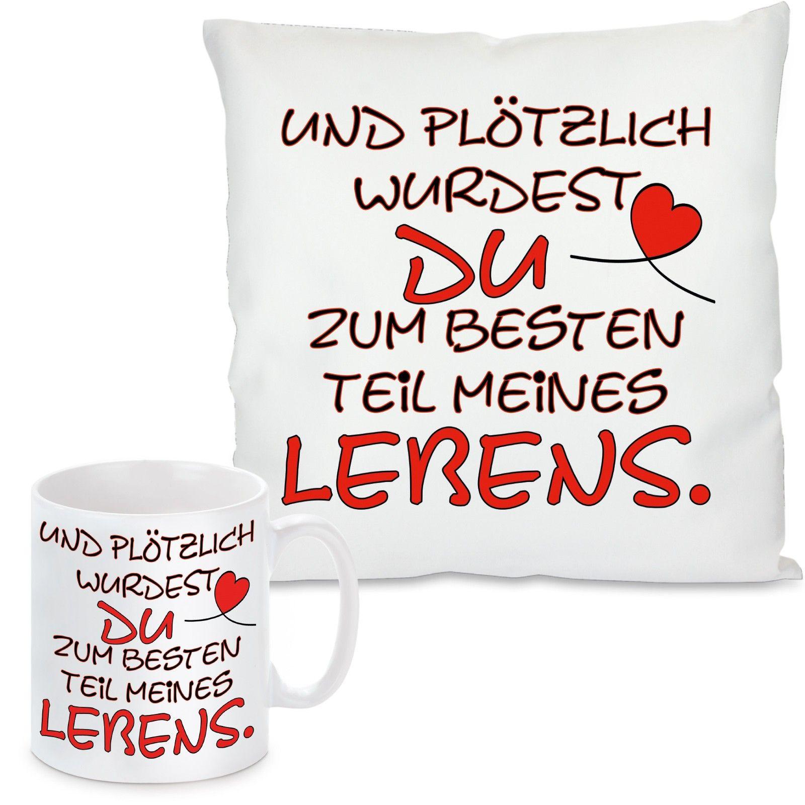 """/""""Jede Liebesgeschichte/"""" Herzbotschaft® Set Kissen /& Tasse mit Motiv Modell"""