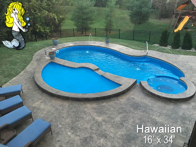 Hawaiian 16 X 34 Fiberglass Pool Swimming Pool Pool With Built In Spill Over Spa Spa Seating And Re Fiberglass Swimming Pools Swimming Pools Pool Hot Tub