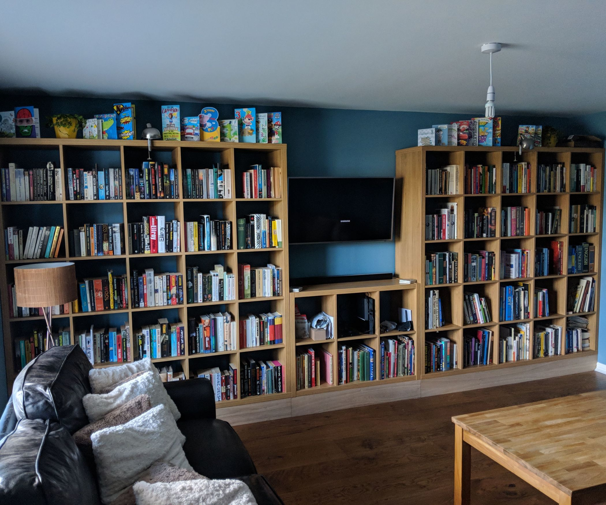 Built In Ikea Bookshelf Hack Full Wall