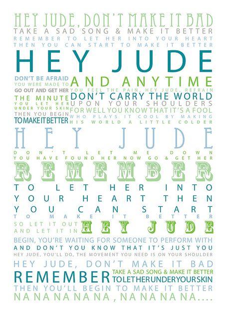 The Beatles - Hey Jude - 1968 Album=Hey Jude Song Lyrics. One of my favorite Beatles songs