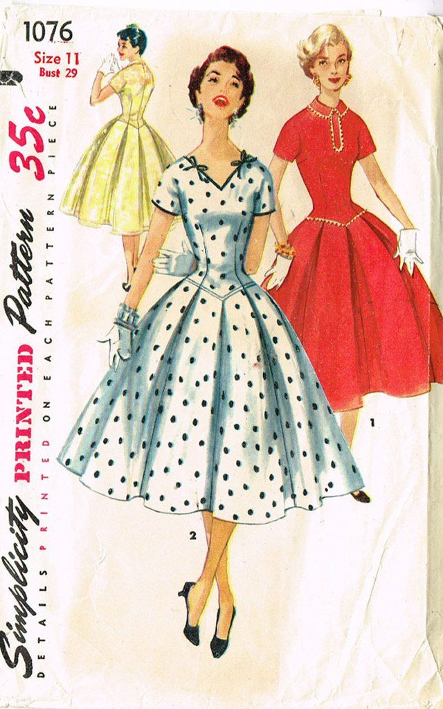 1076 1960s Vintage VOGUE Sewing Pattern B36 DRESS