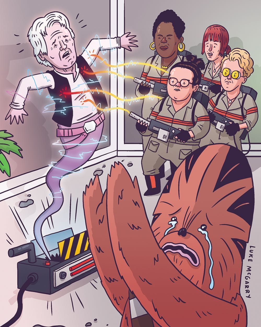 Chewie's not too crazy about the new Ghostbusters either (Sad Chewie by @lukeymcgarry) #sadchewie #chewbacca #hansolo #starwars #ghostbusters #theyaintfraidofhansghost #theafterlife #notagain #toosoon #starwarsspoilers by superdeluxe