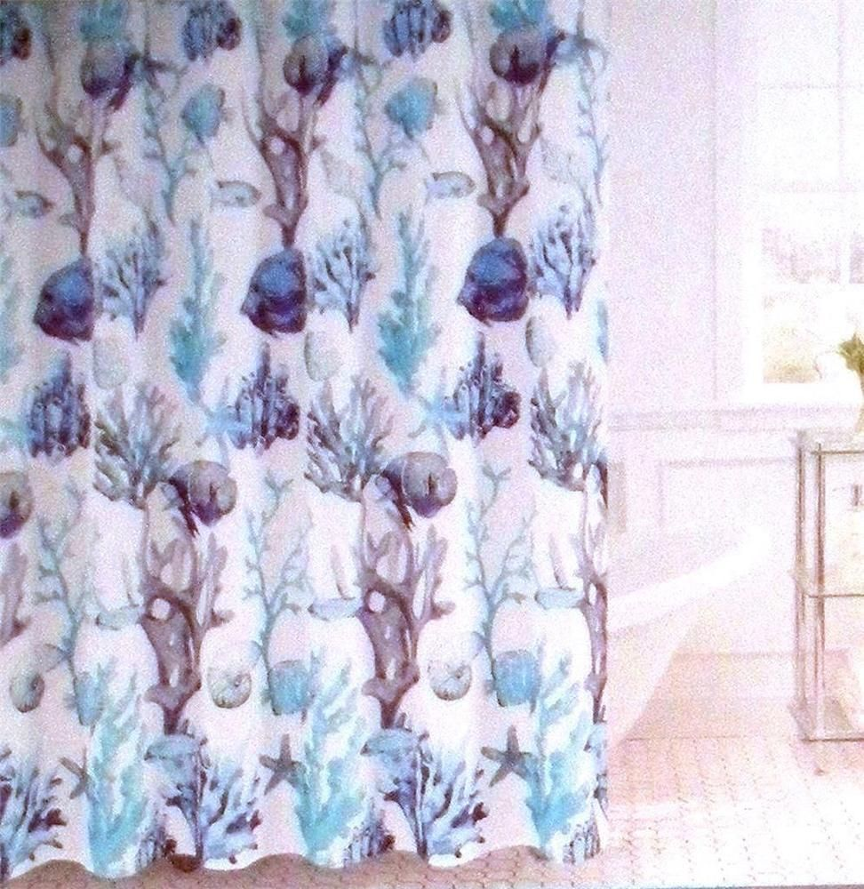 Windsor Home Fabric Shower Curtain Fish Coral Starfish Ocean Tropical 70 X 72 Windsorhome Tropical Fabric Shower Curtains Windsor Homes Beachy Theme