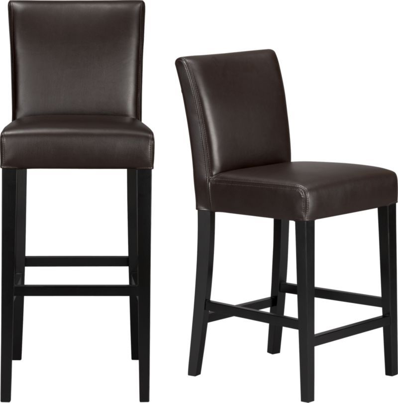 Lowe Chocolate Leather Barstools In Barstools Crate And Barrel