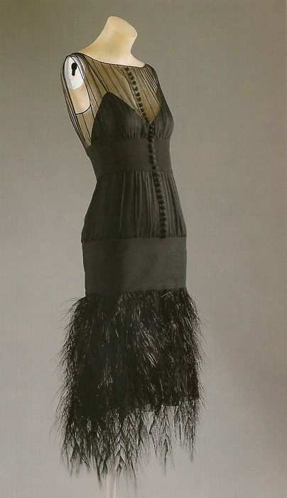 1920s chanel black dress with ostrich feather hem
