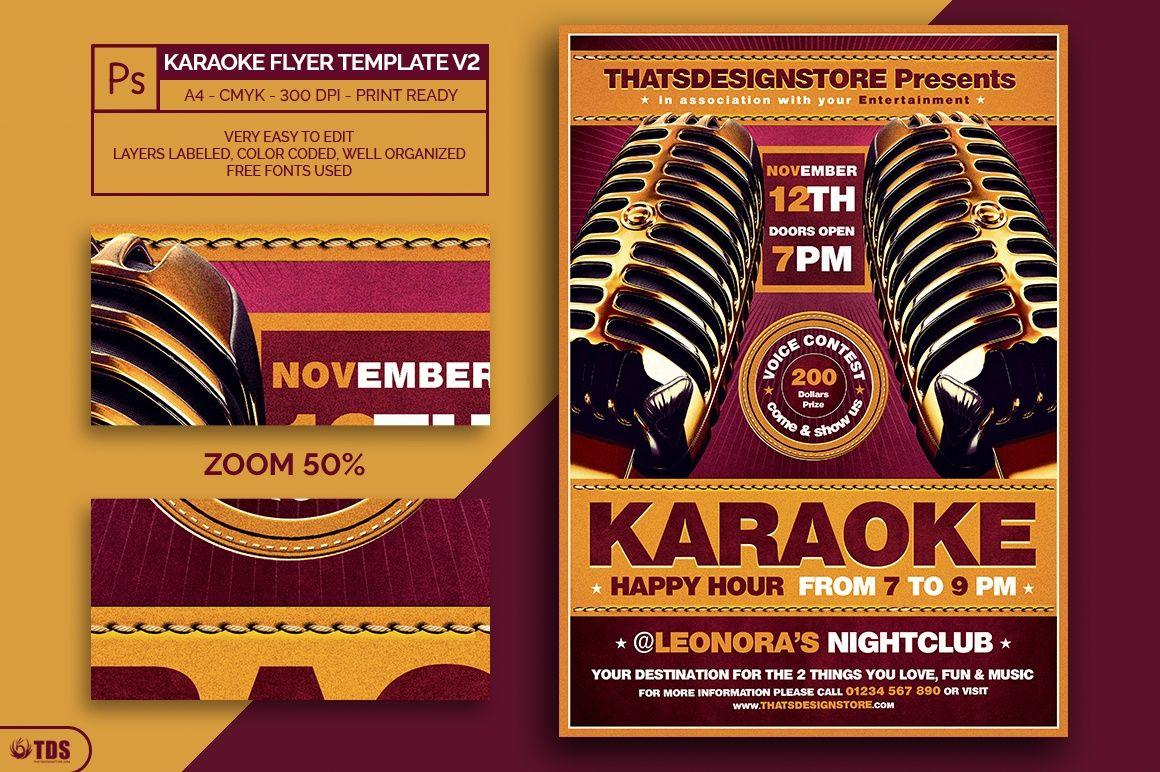 Karaoke Flyer Template V2 Pinterest Concert Flyer