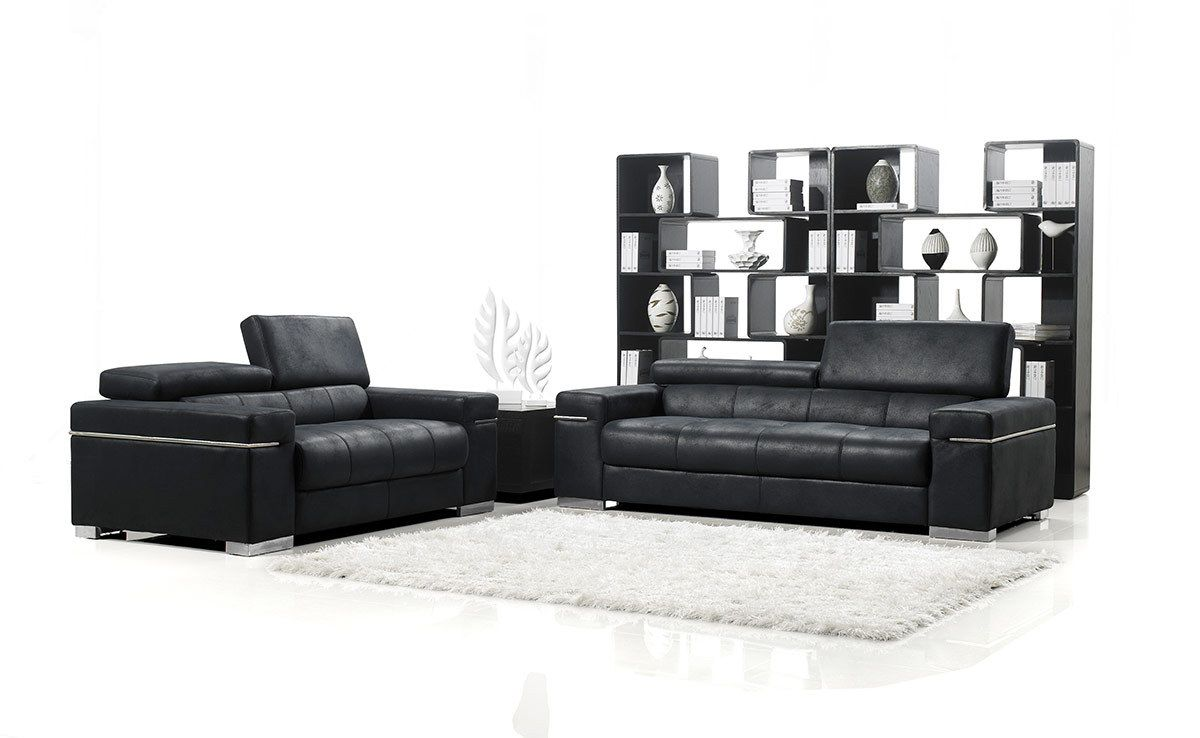 Stylish design furniture black italian design modern sofa set