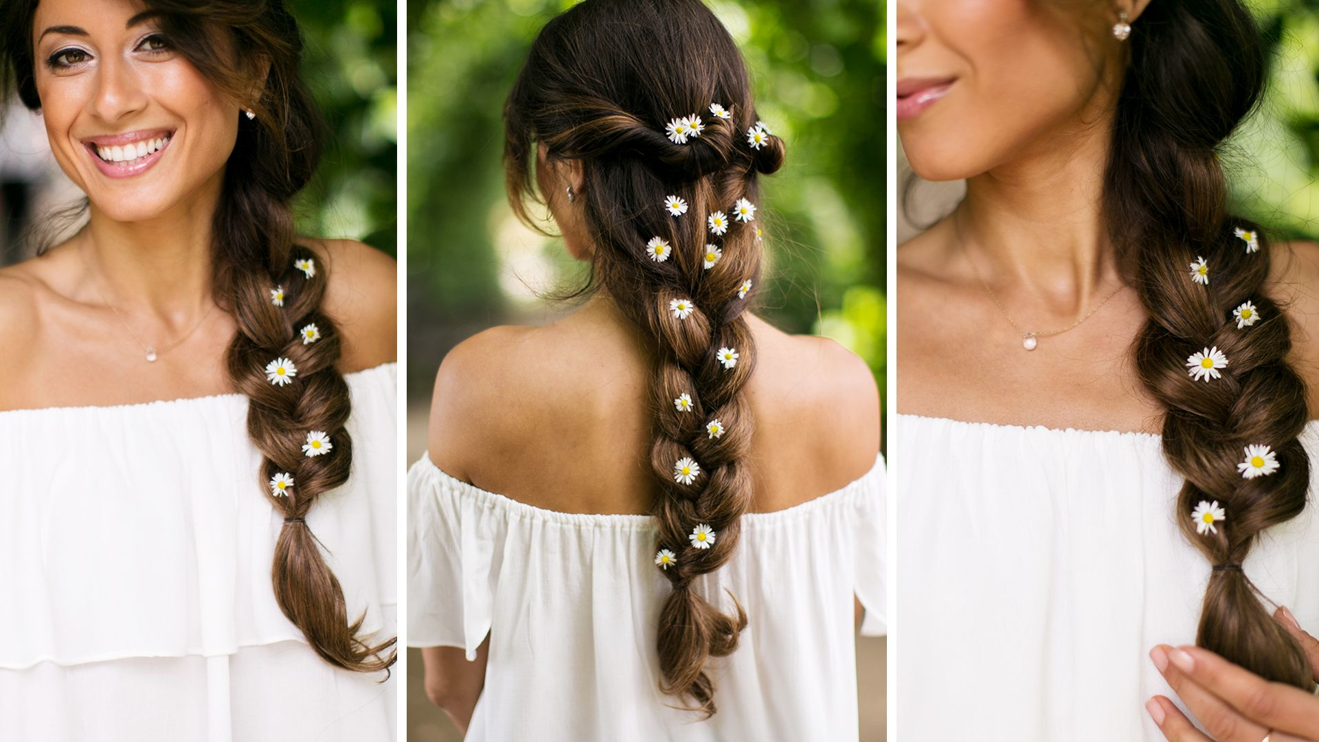 Floral Summer Braid created with Ombre Chestnut Luxy Hair Extensions