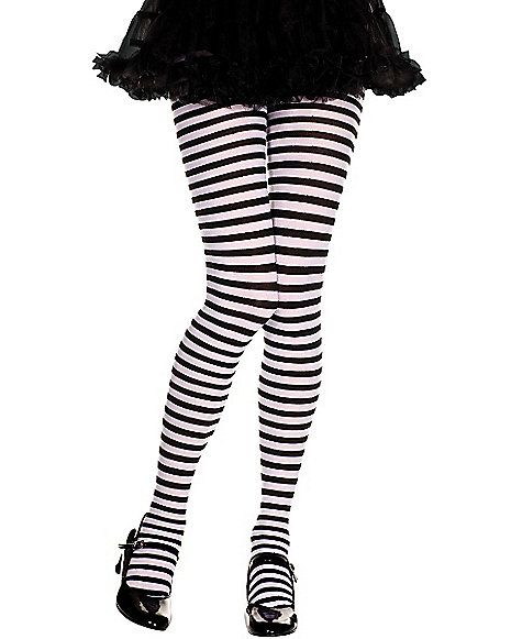 ecbb3ca38553c Kids Black and White Striped Tights - Spirithalloween.com | Costumes ...