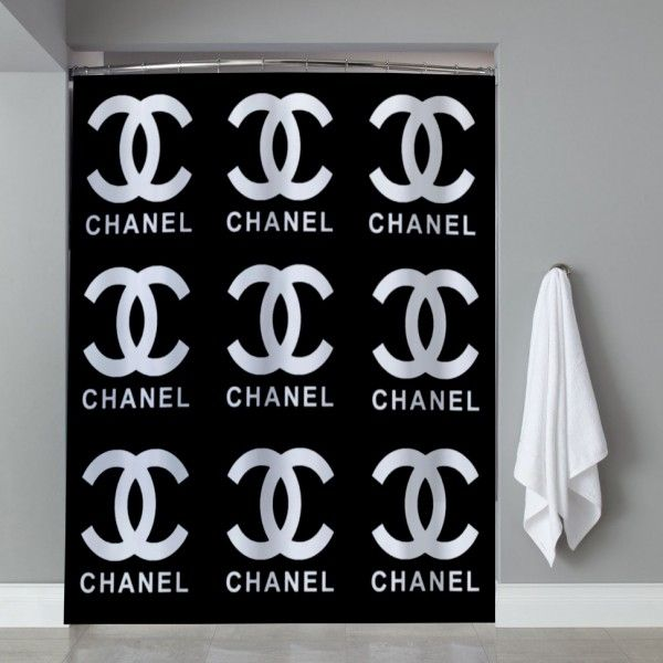 Chanel Coco Logo Black Shower Curtain Fancy Shower Curtains