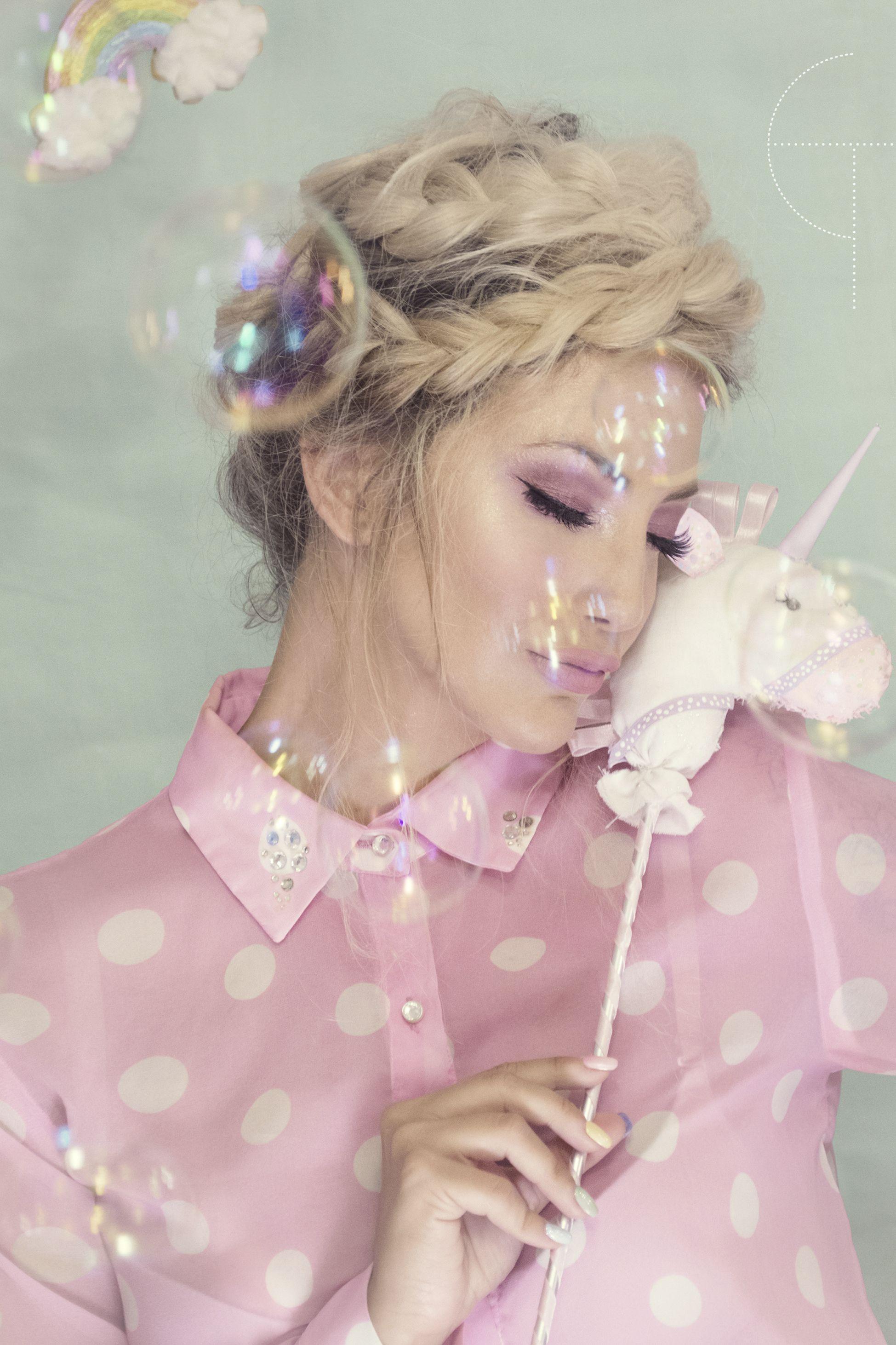 Pastel Colors Rainbow Bubbles Unicorn Sweets Candy Fashion Photoshoot