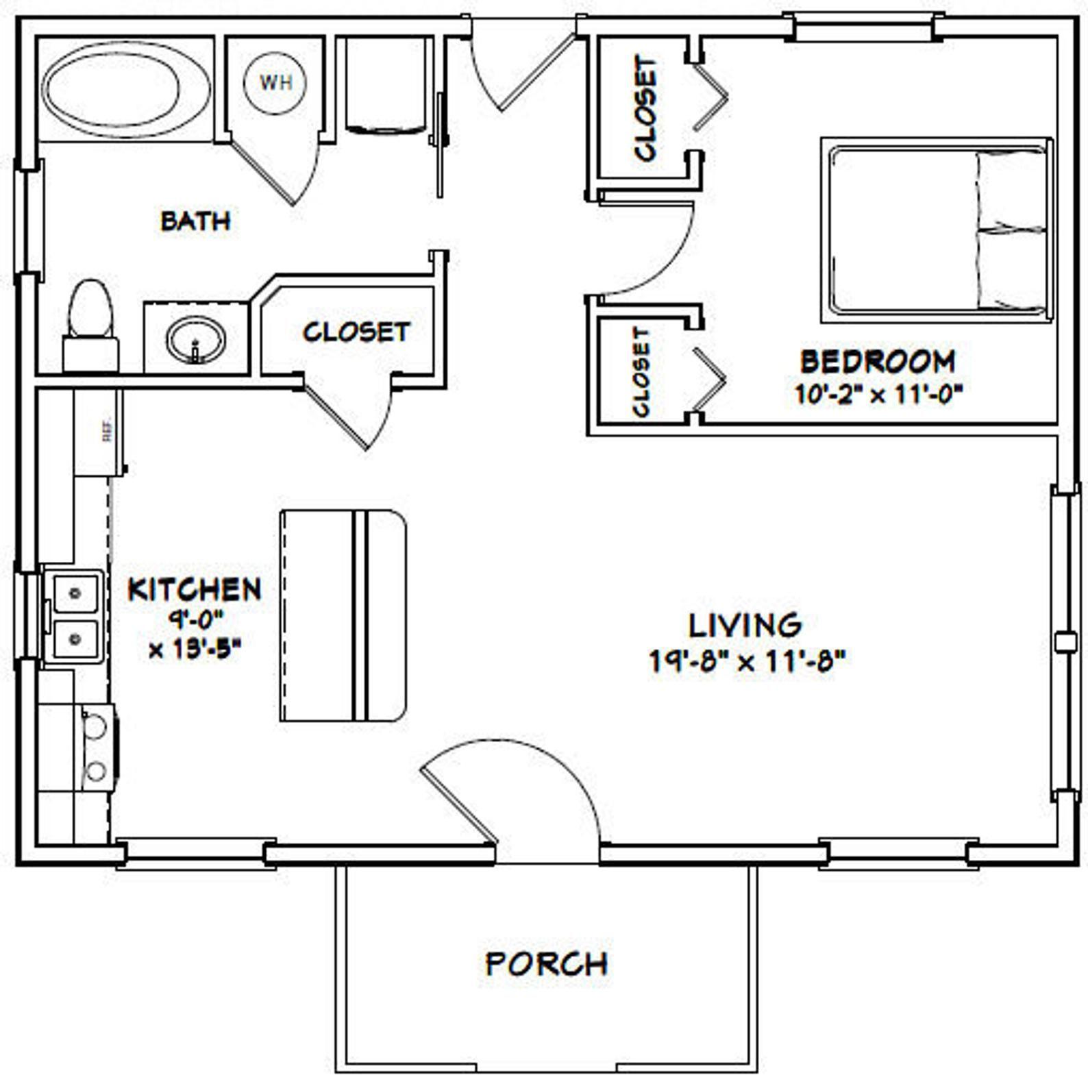 30x24 House 1 Bedroom 1 Bath 720 Sq Ft Pdf Floor Plan Etsy In 2021 Small House Floor Plans Small House Plans Tiny House Floor Plans