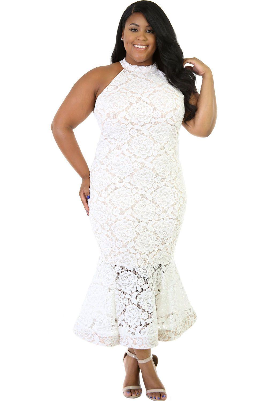 White Lace Mermaid Plus Size Dress LAVELIQ | Mrs. Harris~ Bridal ...
