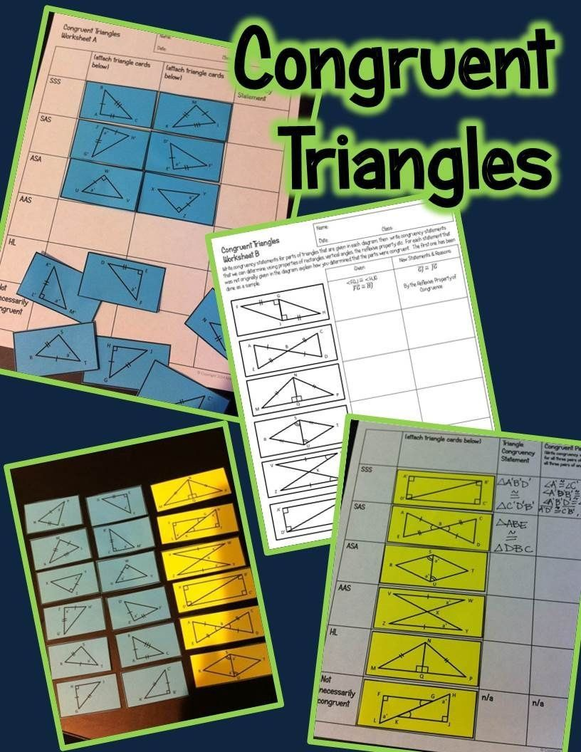 Congruent Triangles Worksheet With Answers Congruent Triangles Activity Sss Sas Asa Aas And In 2020 Triangle Worksheet Teaching Geometry Congruent Triangles Worksheet