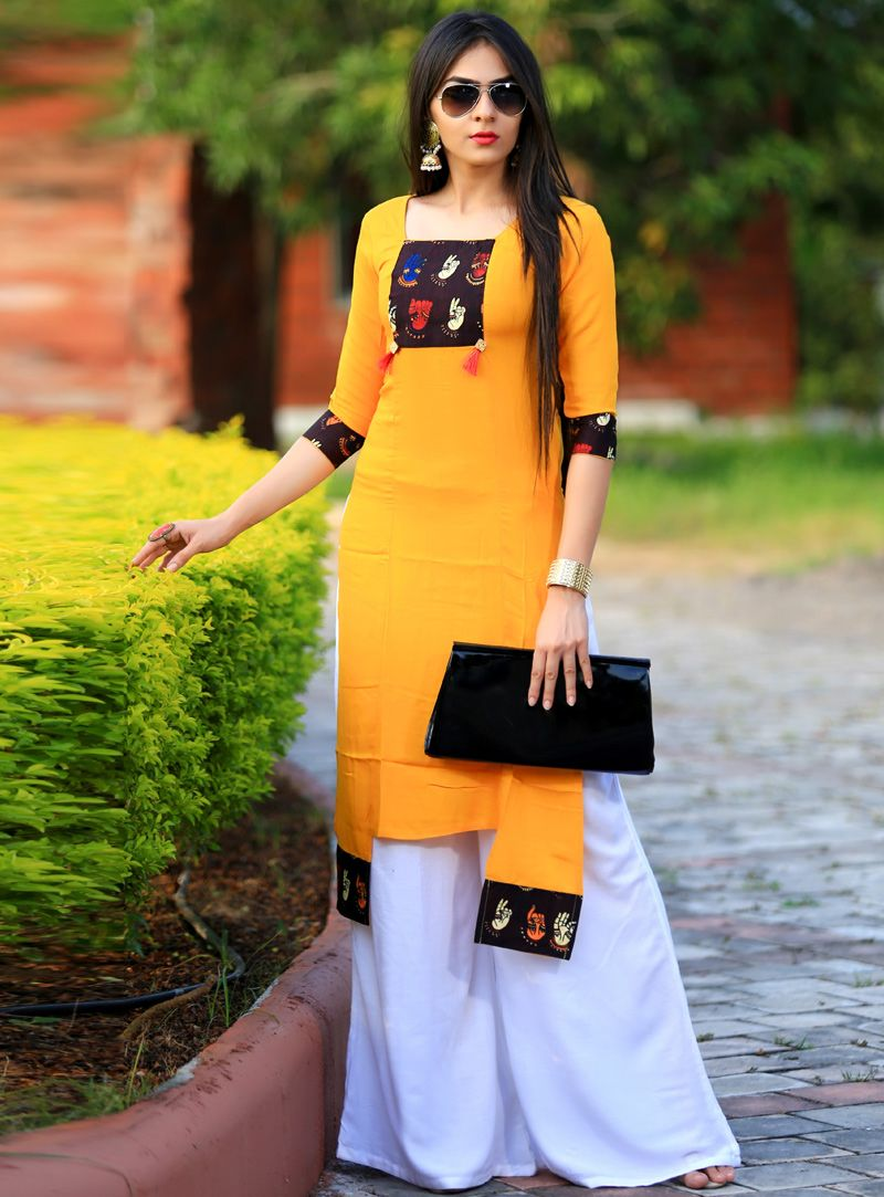 b9523e12273 Mustard Rayon Readymade Kurti 113513 | Clothes all kinds in 2019 ...