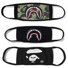 5742036a68f 3× Bathing Ape Bape Shark Black Face Mask Camouflage Mouth-muffle Anti Fog  New