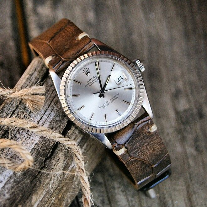 The Rolex Datejust 1603 On A Bark Classic Vintage Croco Strap Vintage Watches Luxury Watches For Men Best Looking Watches