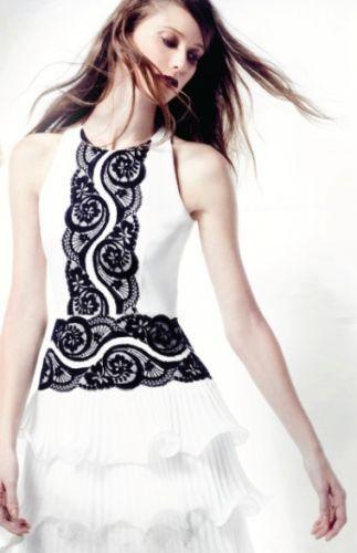 [NEW] BCBG Off White NANETTE Lace Tiered Ruffle Dress 2 $338  #BCBGMaxAzria #CocktailEvening