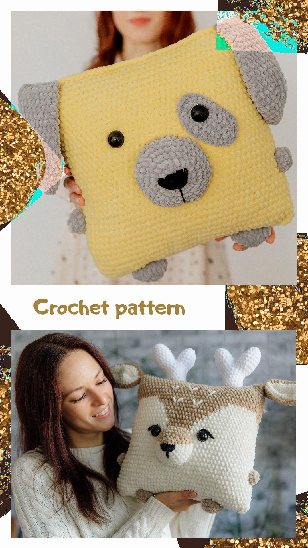 Crochet pattern pillow, amigurumi raindeer, crochet deer, amigurumi dog, crochet christmas gift, pet
