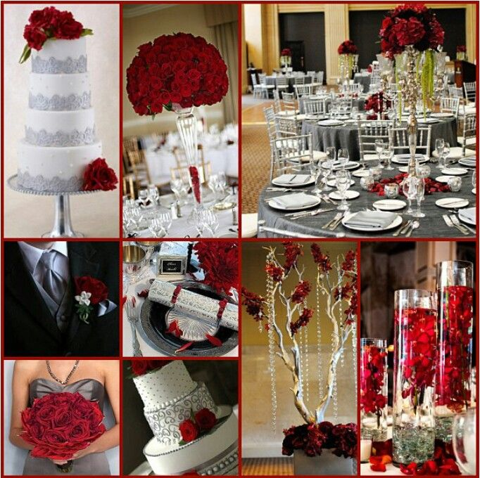Grey Red And White Wedding Theme