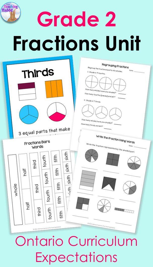 Fractions Unit for Grade 2 (Ontario Curriculum) | Teaching tools ...