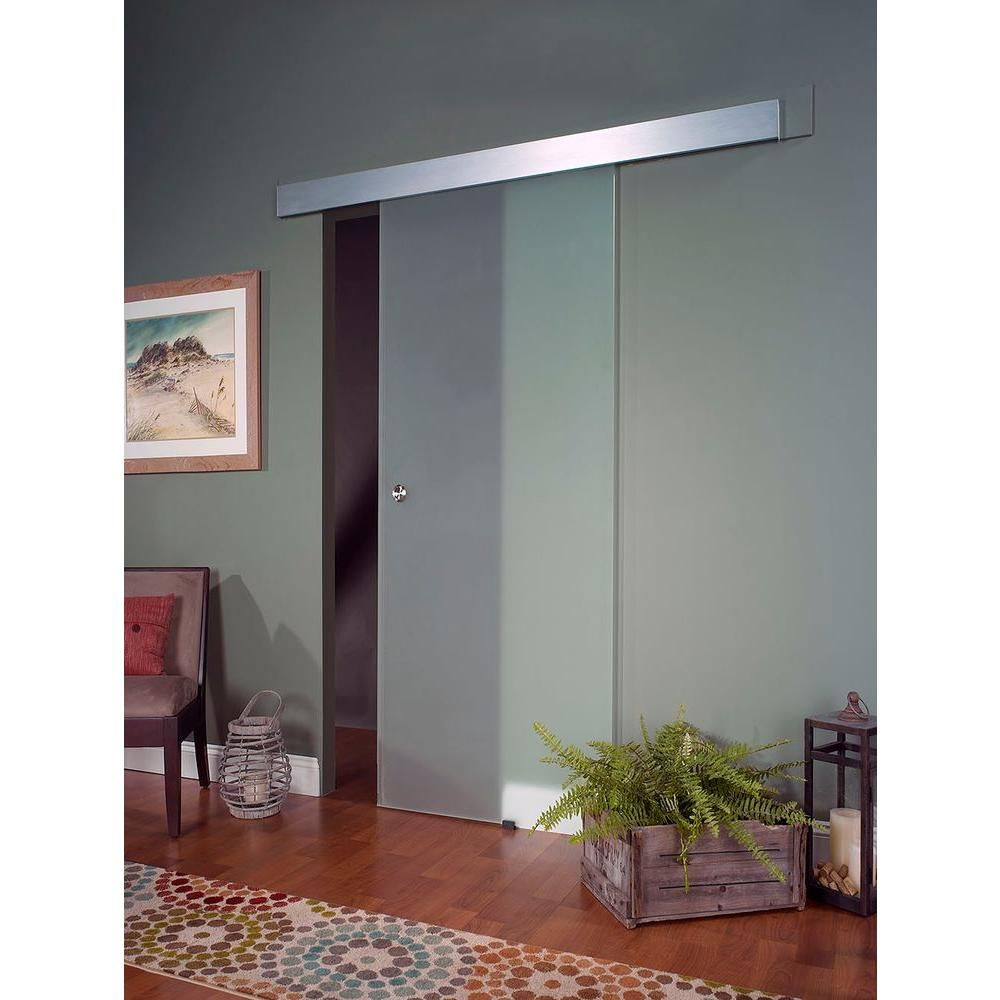 Pinecroft 32 In X 81 In Glass Barn Door With Sliding Door Hardware