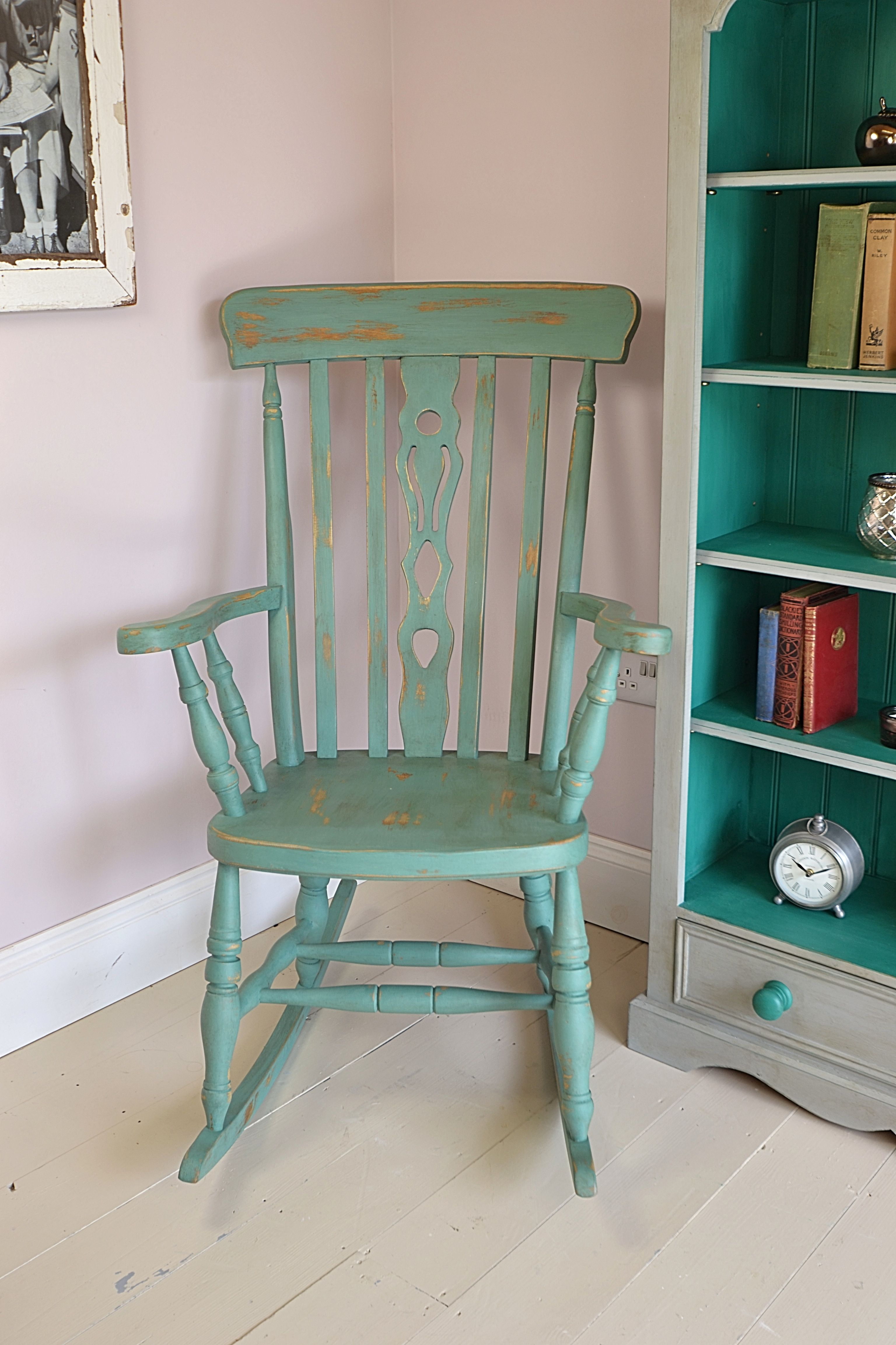 This Antique Pine Rocking Chair Has Been Lightly Distressed And Aged And  Painted In A Mix Of Annie Sloan Antibes Green U0026 Greek Blue, Creating A Rich  Teal ...