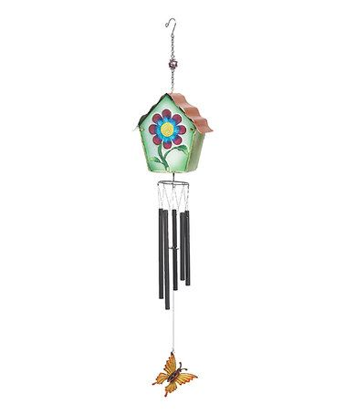 Look what I found on #zulily! 39.3'' Green Metal & Glass Birdhouse Wind Chime #zulilyfinds