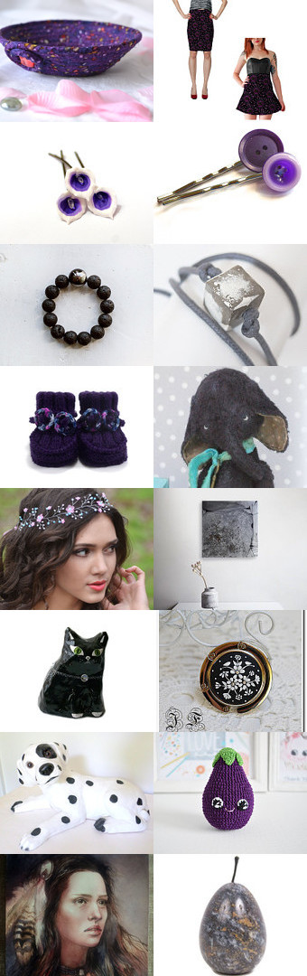 Lovely Etsy Treasury by Fibernique with unique handmade gifts.... Pretty skirt by Whimzingers  and cute purple desk accessory bowl. ....The Dark Side by Julia on Etsy--Pinned+with+TreasuryPin.com